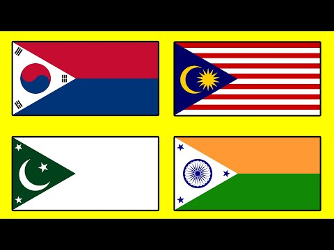 ASIAN FLAGS in the Style of Philippines - Alternate Flags of Asia