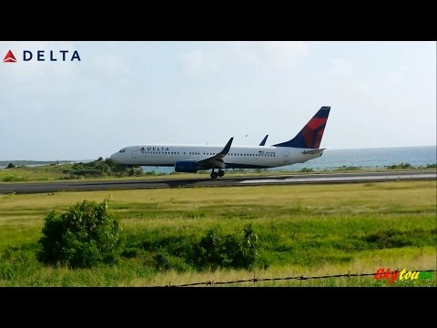 Epic!!! Delta 737-800 Landing and Take off from Grenada 1080p [HD]