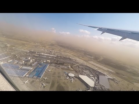 Go around at Tokyo Narita Airport in sand storm(?), B787-9, British Airways