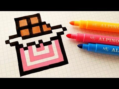 Handmade Pixel Art - How To Draw a Chocolate #pixelart