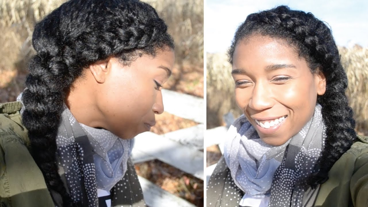 Braided Updo Styles For Natural Hair: Dutch Side Braid + Thick Hair Braiding Tip