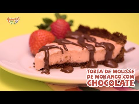 Torta Mousse de Morango com Chocolate - Animados Zoo