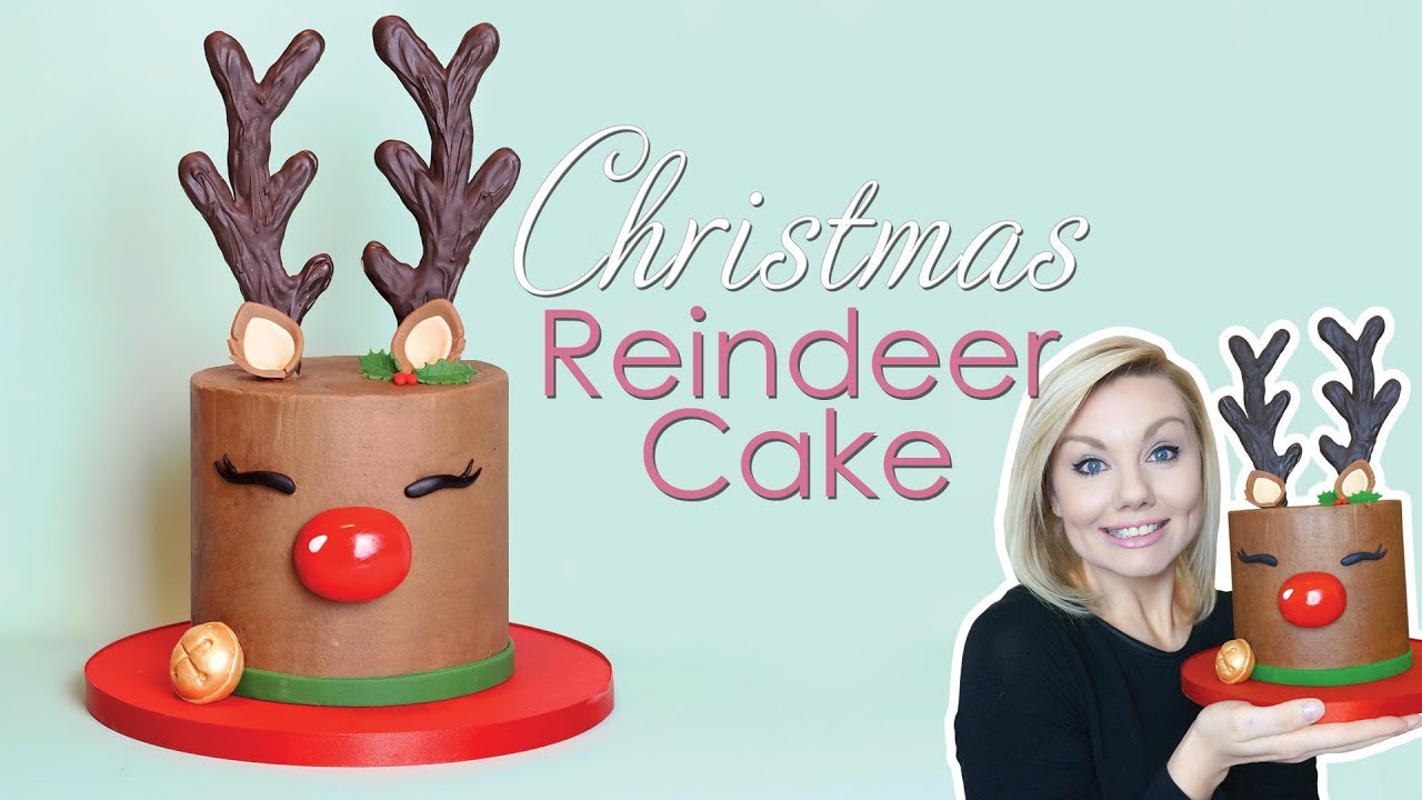 christmas reindeer rudolf cake decorating tutorial with antler