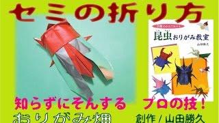 折り紙のセミの折り方動画です。Origami cicada(創作昆虫折り紙作品) ...