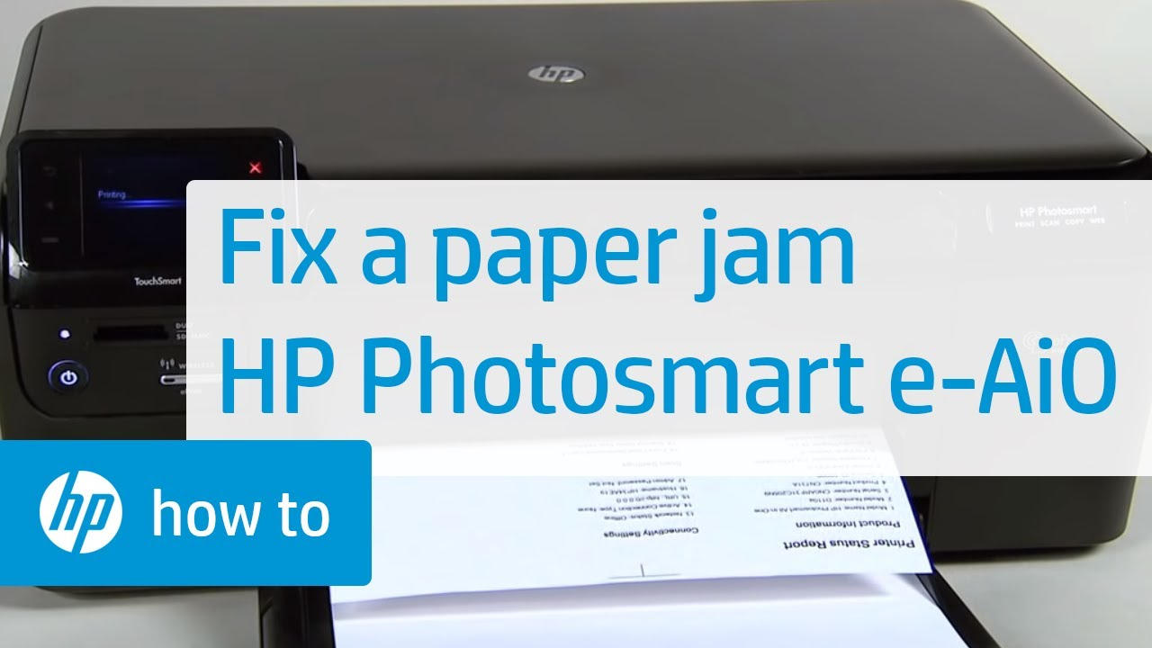 fixing a paper jam hp photosmart e all in one printer d110a hp photosmart hp youtube [ 1280 x 720 Pixel ]