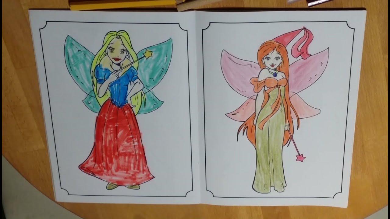 Ausmalen 3 Prinzessinnen Elfen Feen