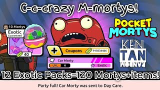 CAR MORTY!? + 12 EXOTIC PACKS = 240 MORTYS AND ITEMS    Pocket Mortys