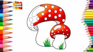 Mushroom coloring pages for kids of all ages | How to Draw Mushroom color very cool