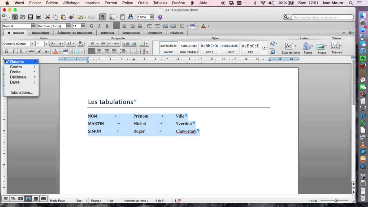 comment utiliser les tabulations dans word pour mac 2011