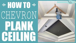 Planked Tray Ceiling DIY - Chevron Pattern
