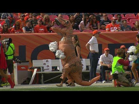 Broncos Cheerleaders Dresses Up As Dinosaur For Halloween