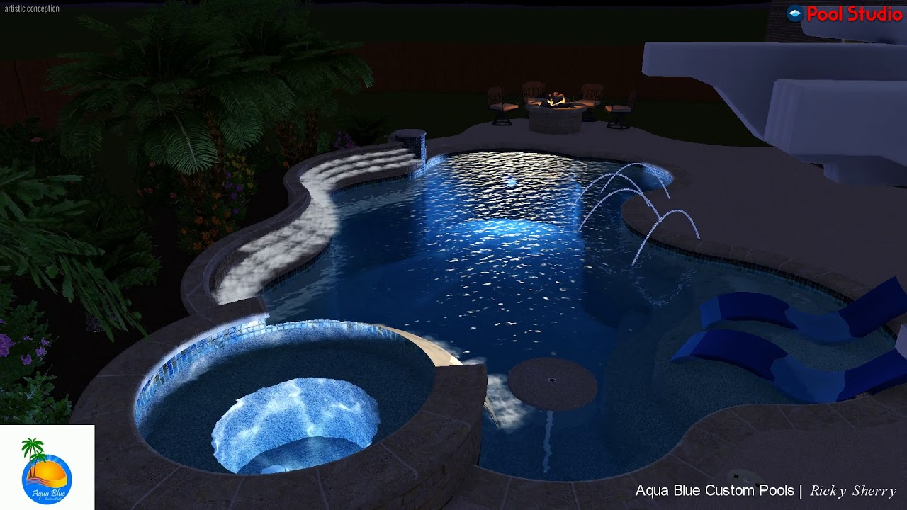 Jacuzzi Pool Youtube Aqua Blue Custom Pools Freeform Custom Pool And Spa Youtube