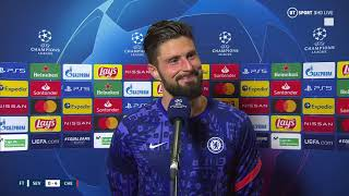 Olivier Giroud reacts to his FOUR GOALS vs Sevilla in the Champions League!