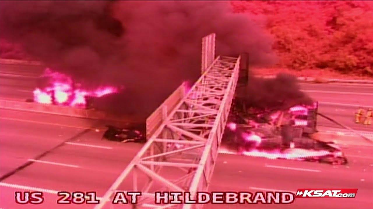 VIDEO: Transguide traffic camera shows fiery big rig crash on Highway 281