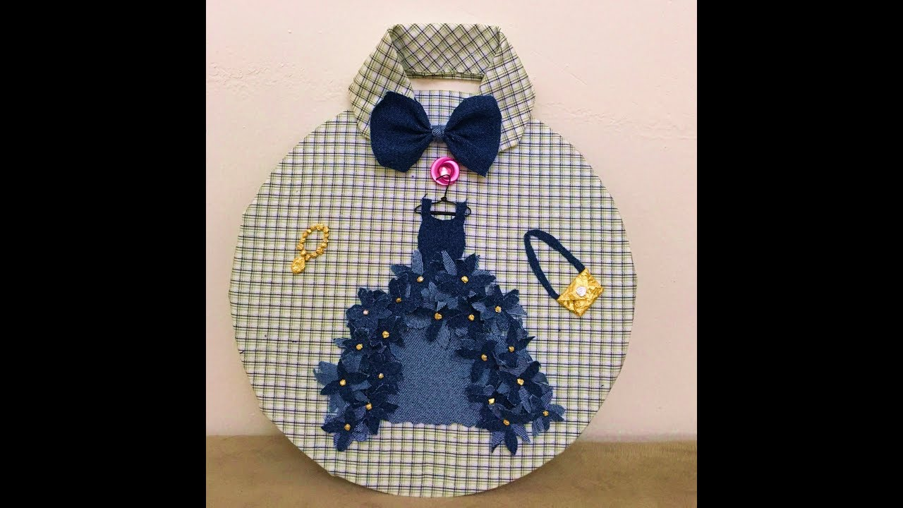 Wall Decor By Using Old Denim Jeans Old Shirt Recycling Craft