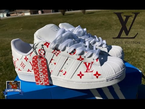 9429b61392d How To: Louis Vuitton x Supreme Collab Adidas Superstar Custom + On Foot |  Stencil Tutorial