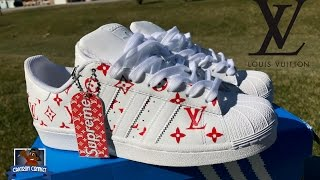 How To: Louis Vuitton x Supreme Collab Adidas Superstar Custom + On Foot | Stencil Tutorial