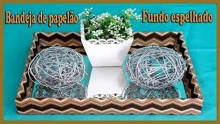 Bandeja de papelão com fundo espelhado DIY