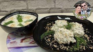 Суп Таратор и салат Снежанка. 2 легких, вкусных, летних блюда. Болгарская кухня. Простые рецепты.