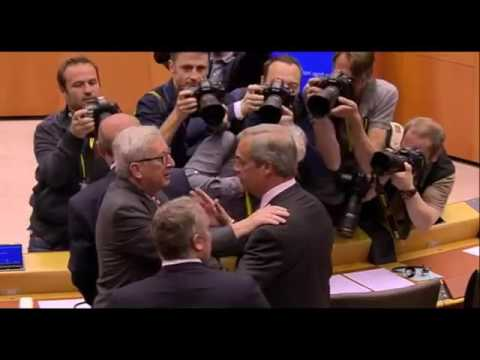 Nigel Farage and Jean-Claude Juncker close encounter in EU Parliment