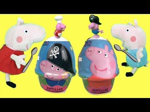 Peppa pig en español:natillas con forma de huevos sorpresa con juguetes para George pig y amigos