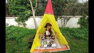 KOVBOY ELİF BAHÇEDE PİKNİK YAPIYOR.Eğlenceli çocuk videosu, oyun evi çadır