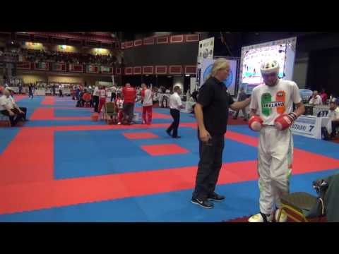 Bartosz Brauer POL vs Thomas Little IRL WAKO Kickboxing World Cup Dublin 2016 LC J M  74kg