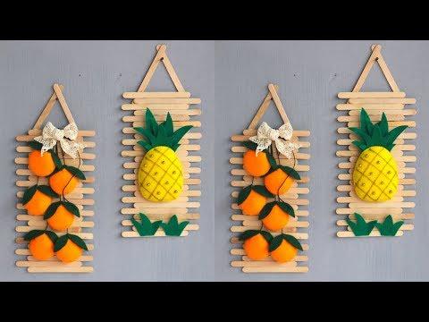 Popsicle stick crafts ideas | ice cream sticks crafts | Hiasan dinding dari stik es krim dan flanel