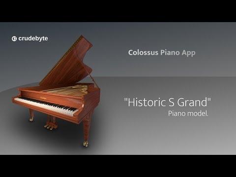 """Colossus Piano App: the light brown """"Historic S Grand"""" piano model."""