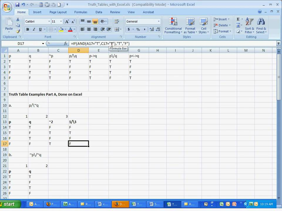 Truth tables with excel parta youtube for Table karnaugh 6 variables