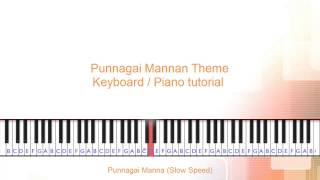 Punnagai mannan theme keyboard / piano tutorial