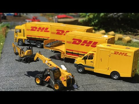 BRUDER TOYS DHL truck transport to CONSTRUCTION SITE | Learn video | Cartoon for kids