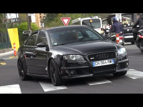 Black Audi RS4 with Loud Decatted Exhaust in Monaco!