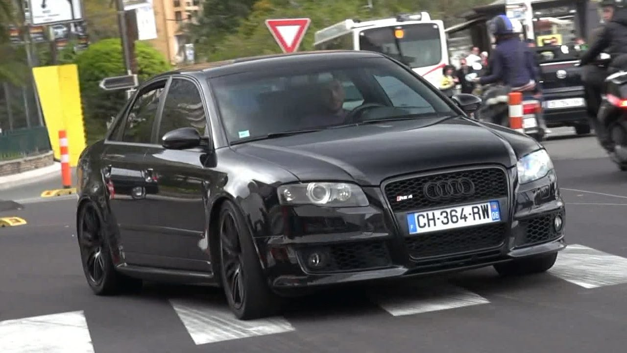 Black Audi Rs4 With Loud Decatted Exhaust In Monaco Youtube