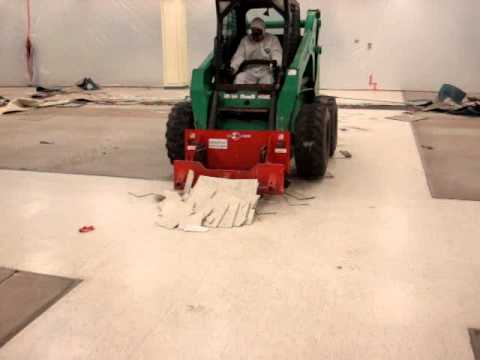 Floor Tile Removal With Skid Steer Scraper Attachment Youtube