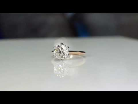 Rose Gold Diamond Solitaire Engagement Ring with White Gold Head