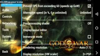 Settings PPSSPP build v1.2.2 God Of War : Ghost Of Sparta