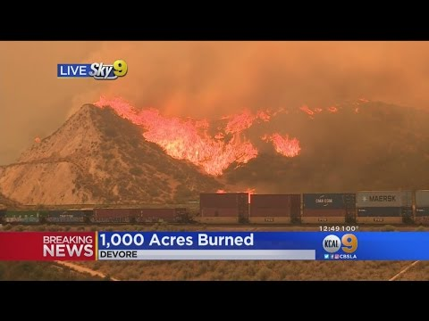 Blue Cut Fire Forces Firefighters To Abandon 2 Engines; Cargo Train Evacuated