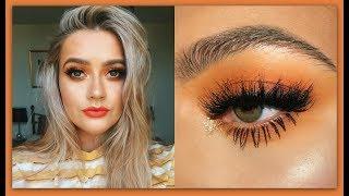Orange summer smokey eye makeup tutorial   Rainbow week   EmmasRectangle
