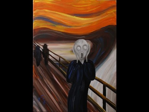 The Scream by Edvard Munch Step by Step Acrylic Painting on Canvas for Beginners