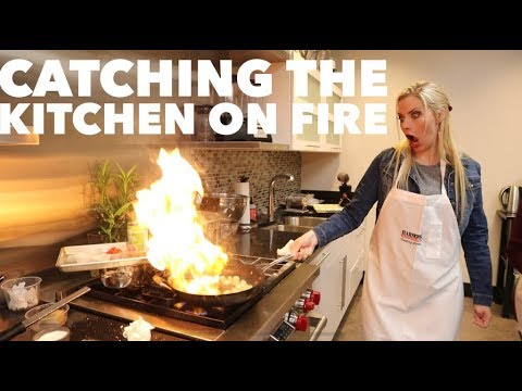 CATCHING THE KITCHEN ON FIRE AT A HARMONS COOKING CLASS