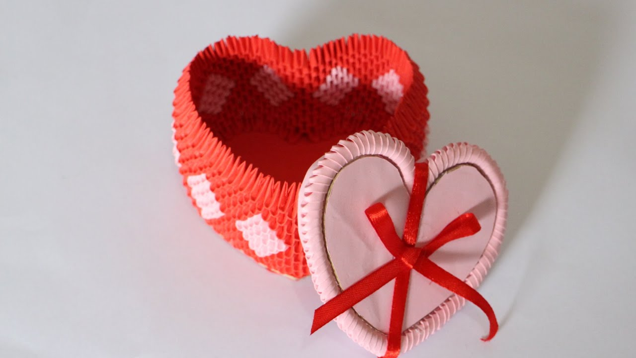 How To 3D Origami Heart Box For Jewelry