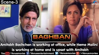 Amitabh is working at office, while Hema Malini is working at home and upset with Amitabh (Baghban)