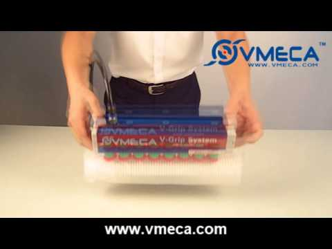 VMECA Vacuum Gripper System (G80) with Magic suction cup to handle thin plastic package