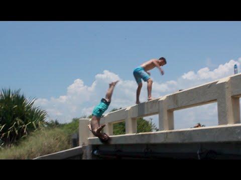 Bridge Jumper Lands On Manatee!
