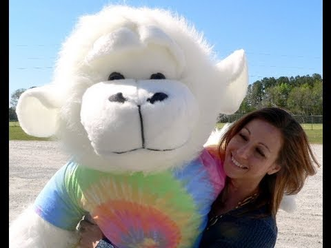 6 Foot Giant Stuffed Animal White Fuzzy Monkey Wearing Tie Dye T Shirt Made In Usa
