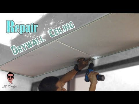 เปลี่ยนแผ่น...ฝ้าเพดานด้วยตนเอง Ll How To Repair A Large Hole In A Drywall Ceiling