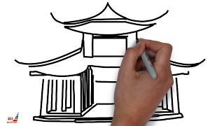 How to Draw a Chinese House ||  Trick Art Drawing a Chinese House 💞 Draw chines House Step by Step