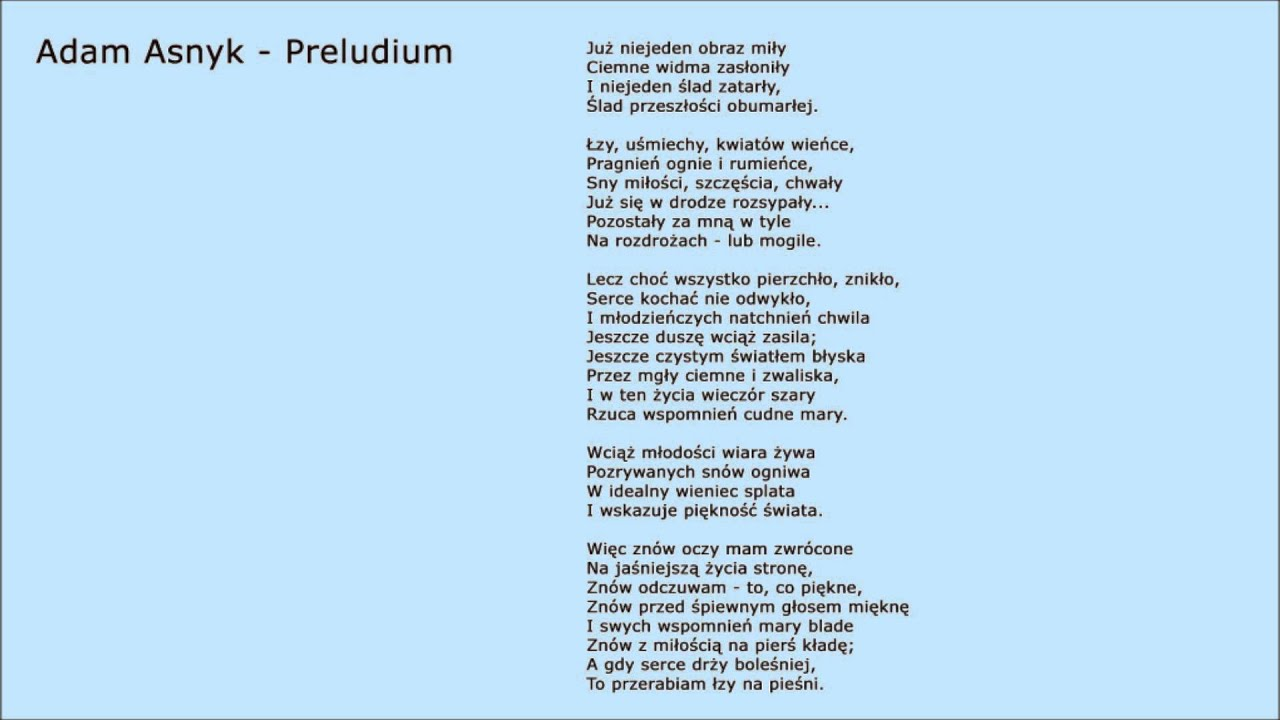 Poezja Adam Asnyk Preludium Youtube