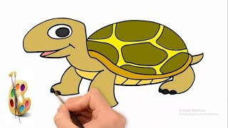 How to draw a Tortoise(kocchop) basics shape with tortoise drawing for kids.